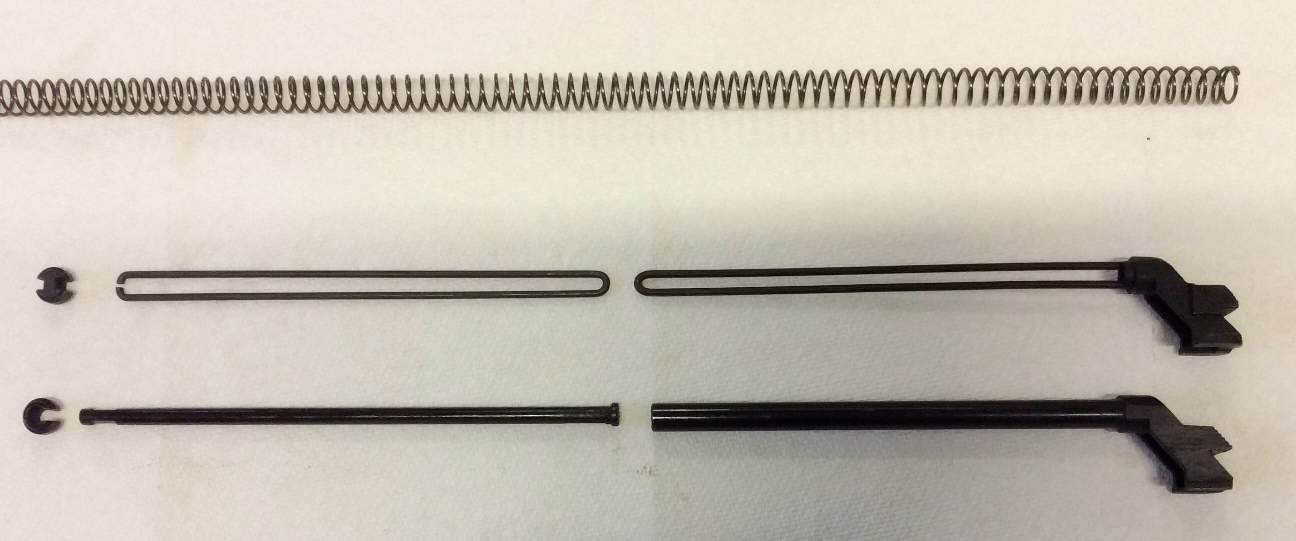 Bent wire recoil spring guide and telescoping tube & rod spring guide.